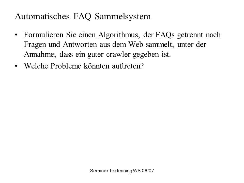 Automatisches FAQ Sammelsystem