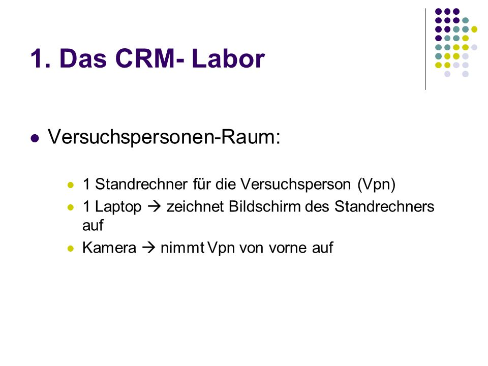 1. Das CRM- Labor Versuchspersonen-Raum: