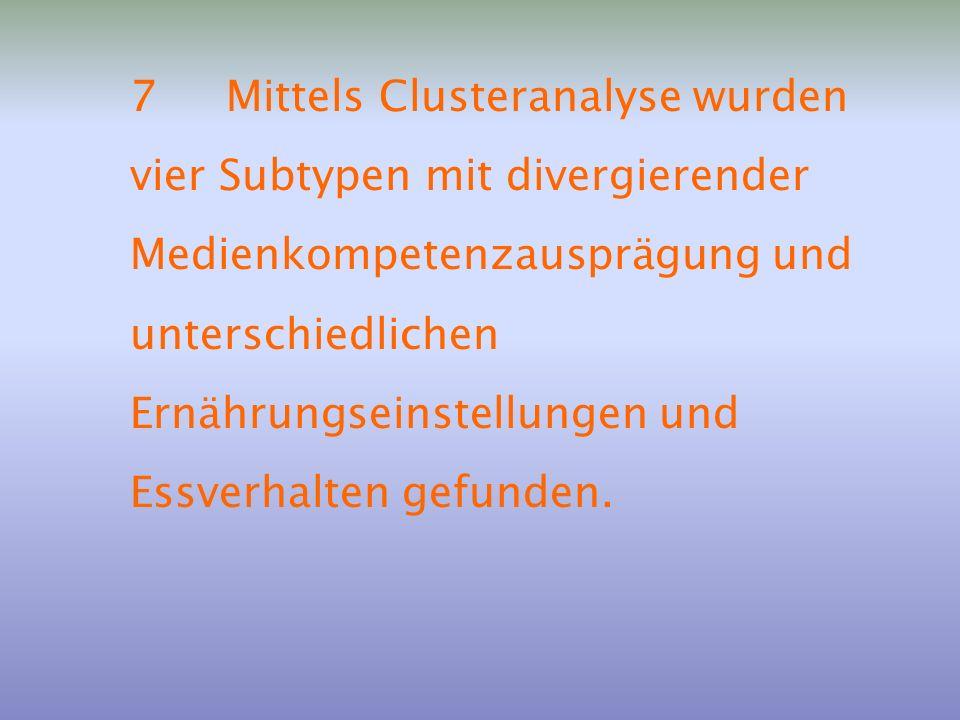 7 Mittels Clusteranalyse wurden vier Subtypen mit divergierender Medienkompetenzausprägung und unterschiedlichen Ernährungseinstellungen und Essverhalten gefunden.