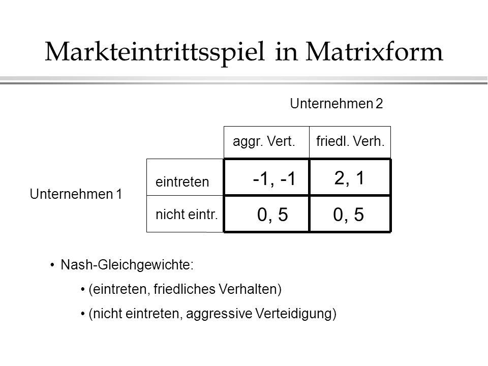 Markteintrittsspiel in Matrixform