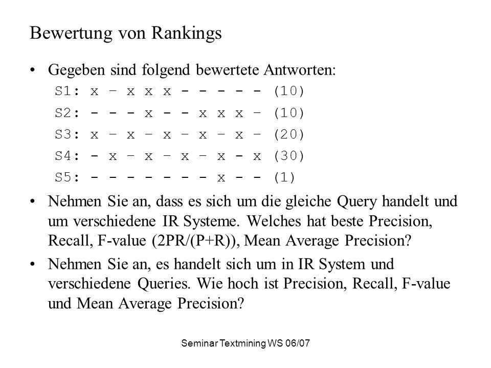 Bewertung von Rankings