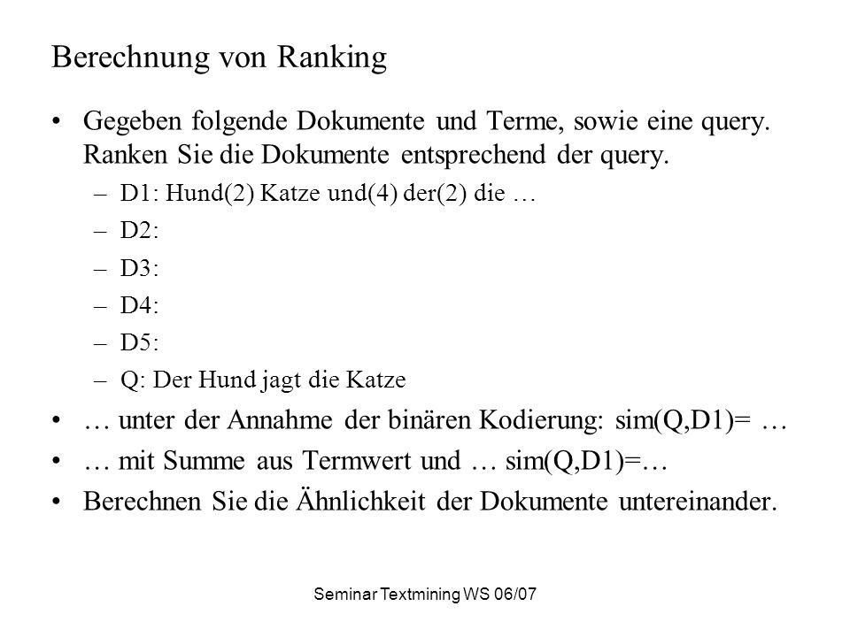 Berechnung von Ranking