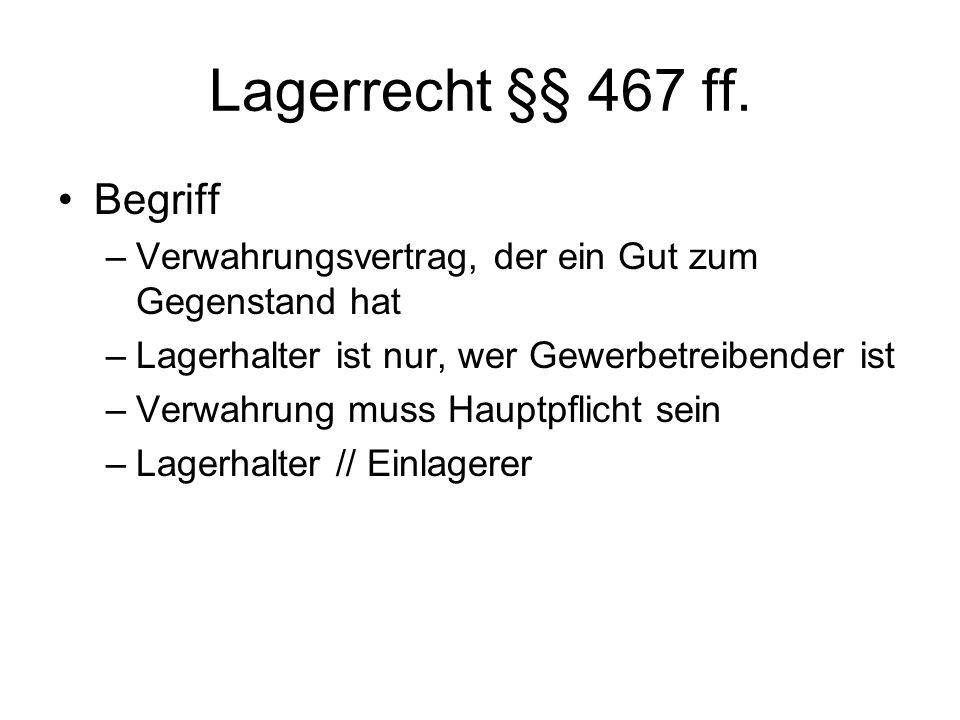 Lagerrecht §§ 467 ff. Begriff