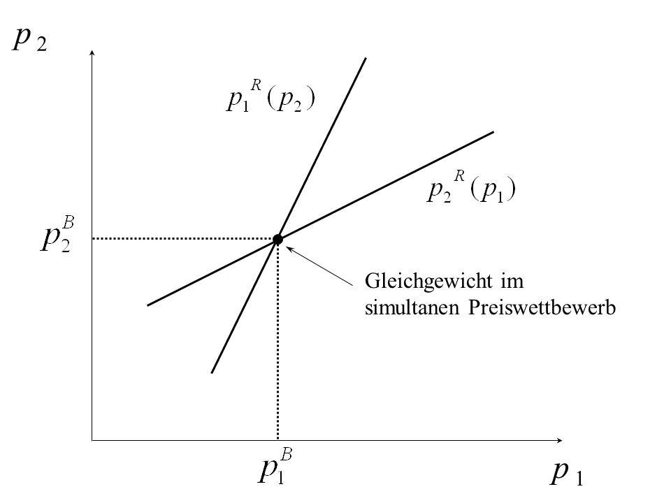 p 2 Gleichgewicht im simultanen Preiswettbewerb p 1