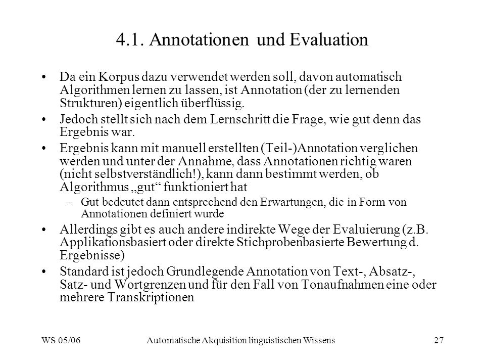 4.1. Annotationen und Evaluation
