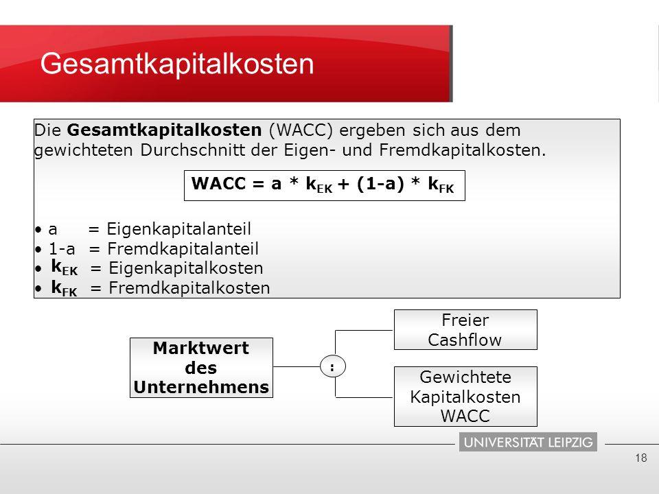 Gesamtkapitalkosten Die Gesamtkapitalkosten (WACC) ergeben sich aus dem gewichteten Durchschnitt der Eigen- und Fremdkapitalkosten.