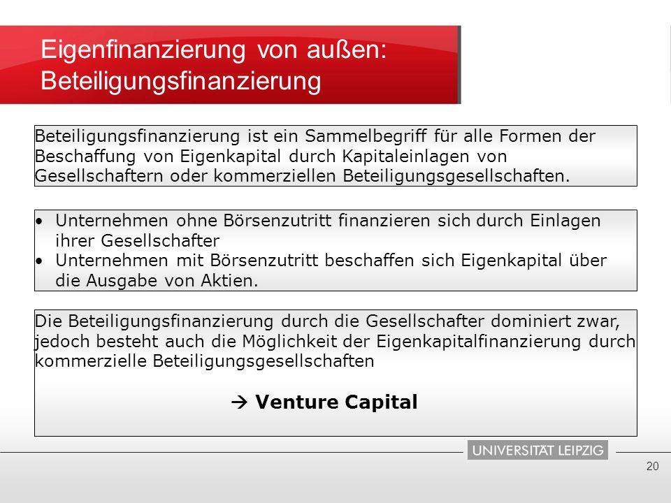 Eigenfinanzierung von außen: Beteiligungsfinanzierung