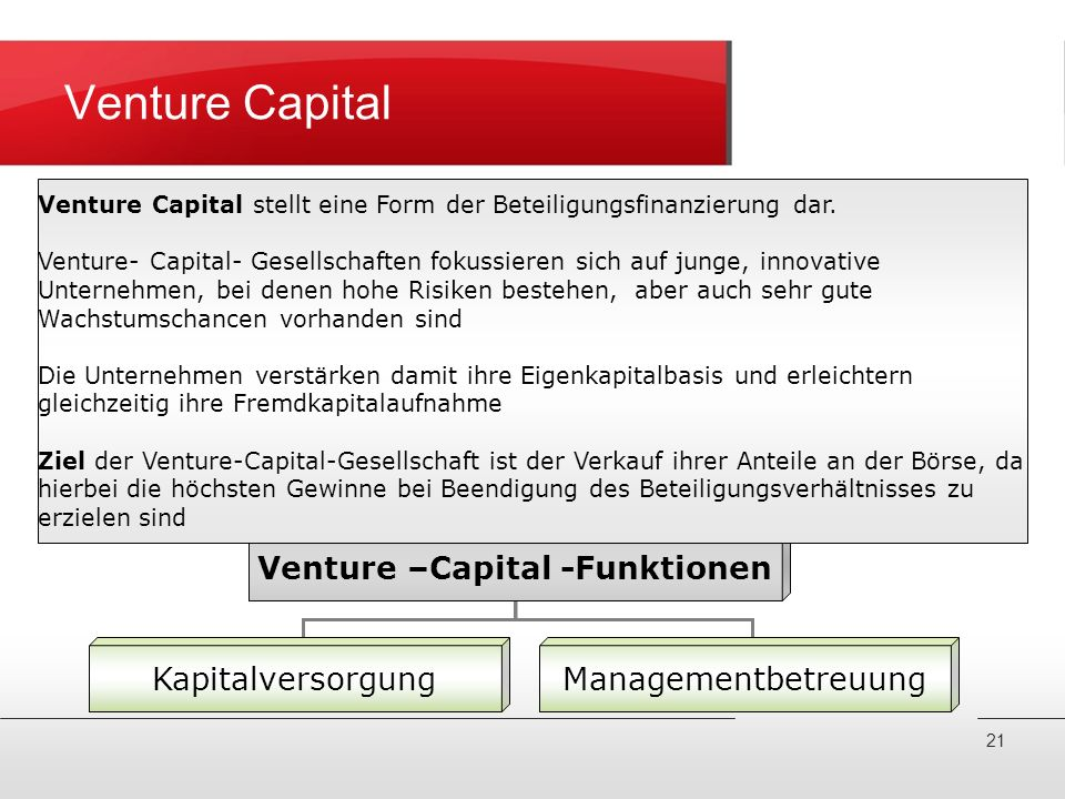 Venture –Capital -Funktionen