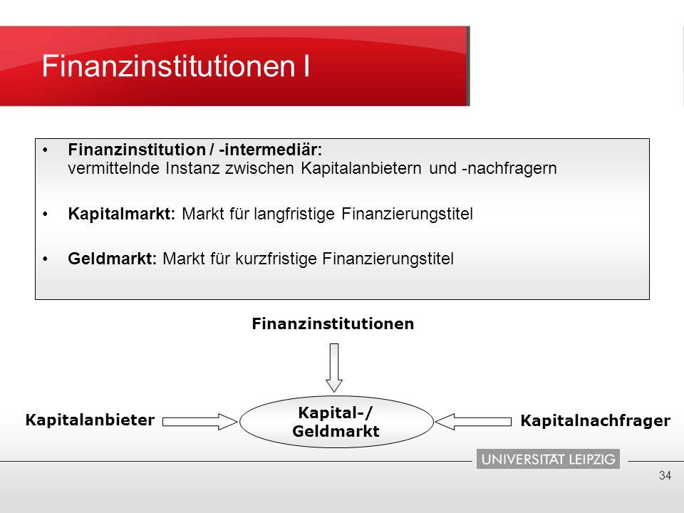 Finanzinstitutionen I