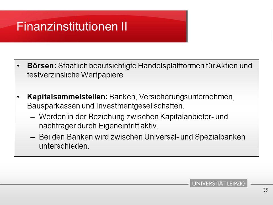 Finanzinstitutionen II