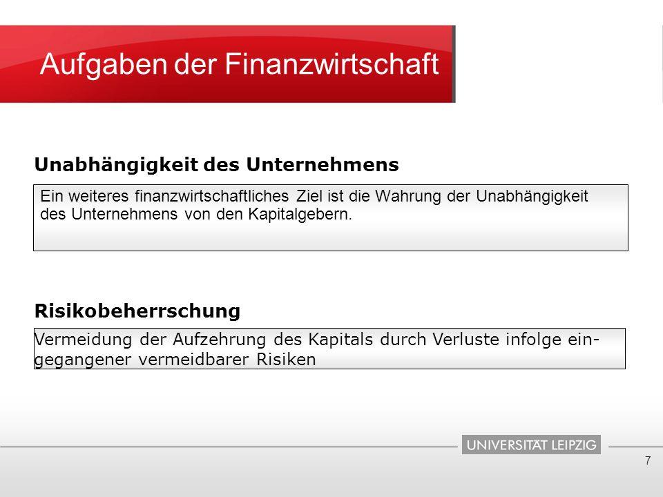 Aufgaben der Finanzwirtschaft