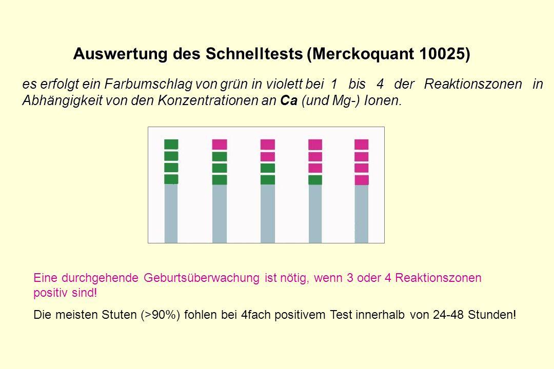 Auswertung des Schnelltests (Merckoquant 10025)