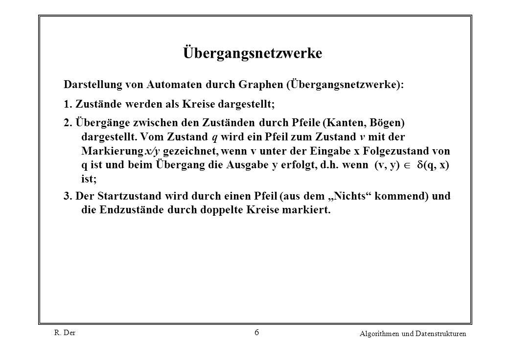 Übergangsnetzwerke Darstellung von Automaten durch Graphen (Übergangsnetzwerke): 1. Zustände werden als Kreise dargestellt;