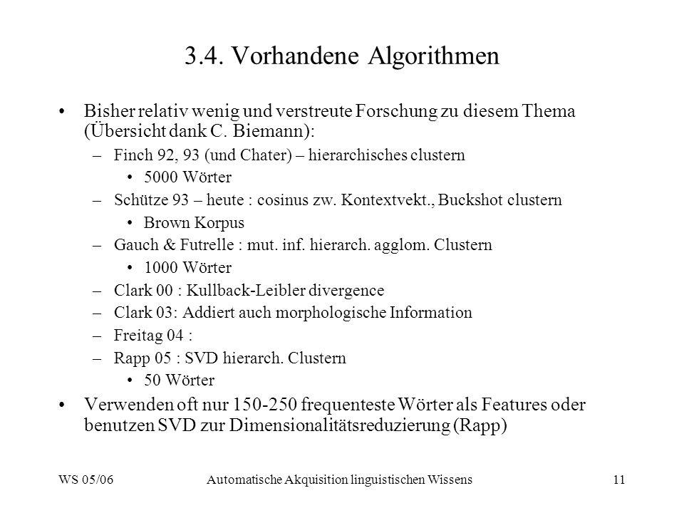 3.4. Vorhandene Algorithmen