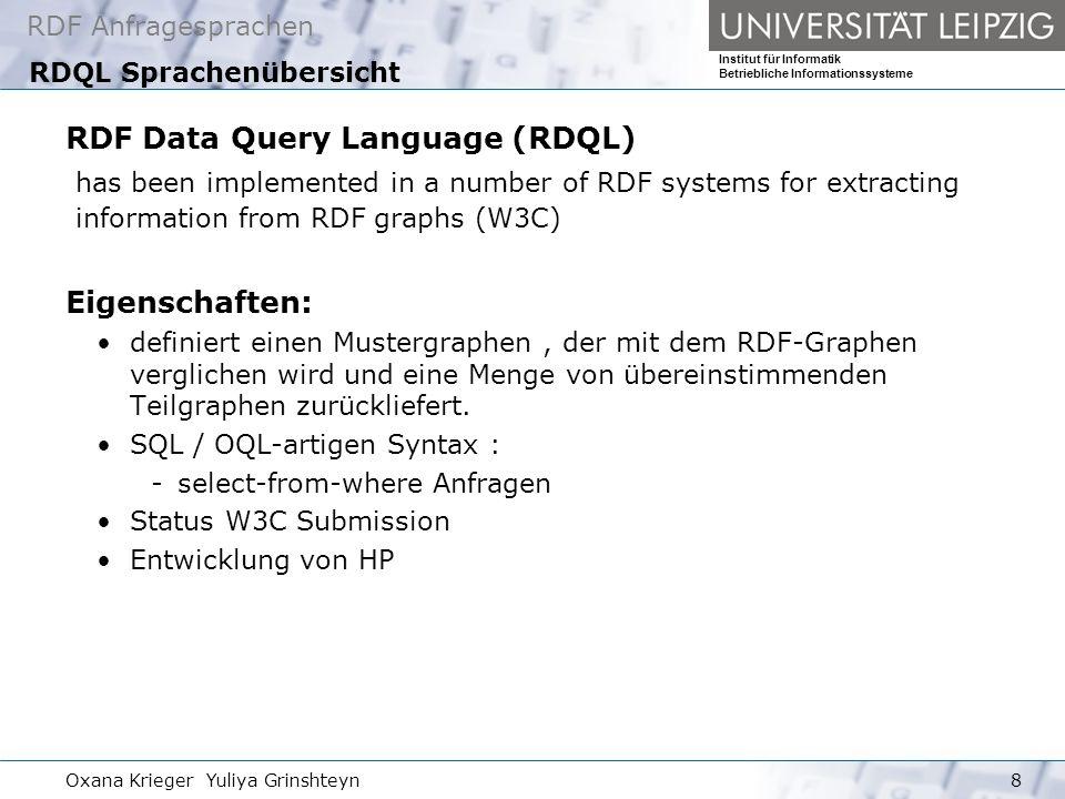 RDQL Sprachenübersicht