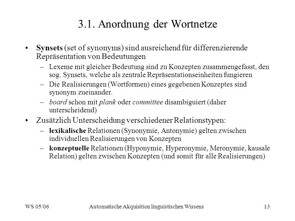 3.1. Anordnung der Wortnetze