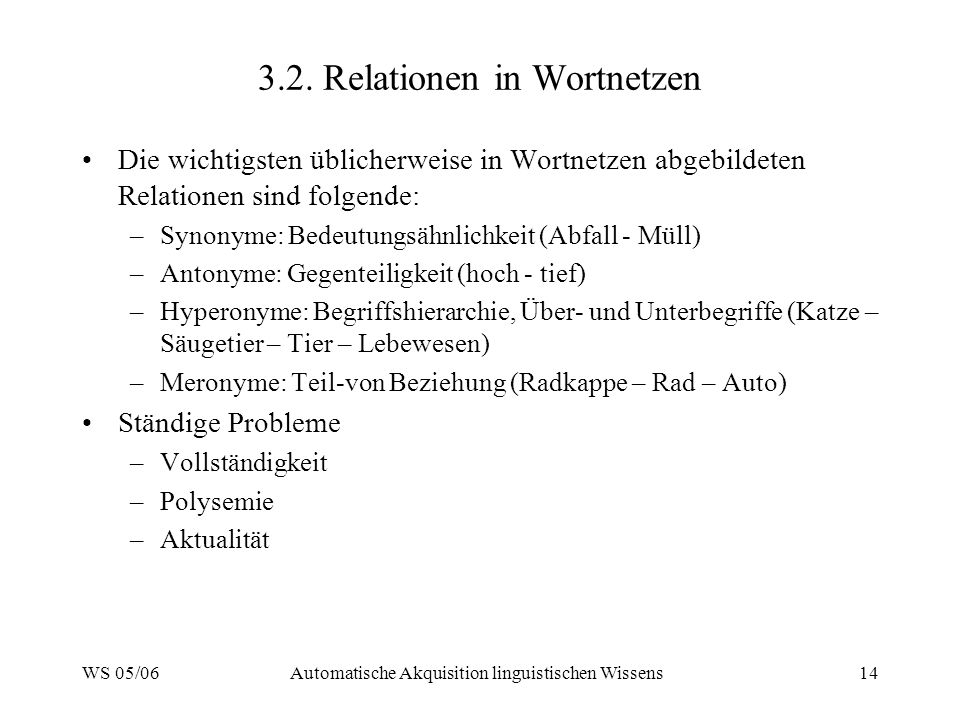 3.2. Relationen in Wortnetzen