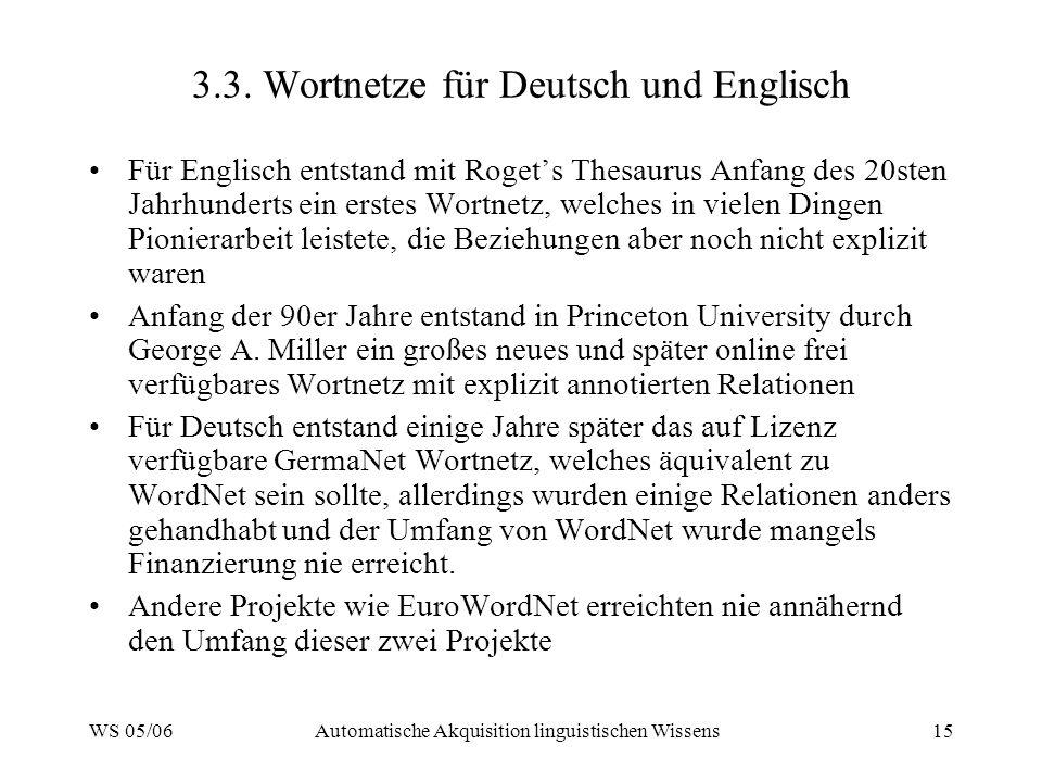 3.3. Wortnetze für Deutsch und Englisch