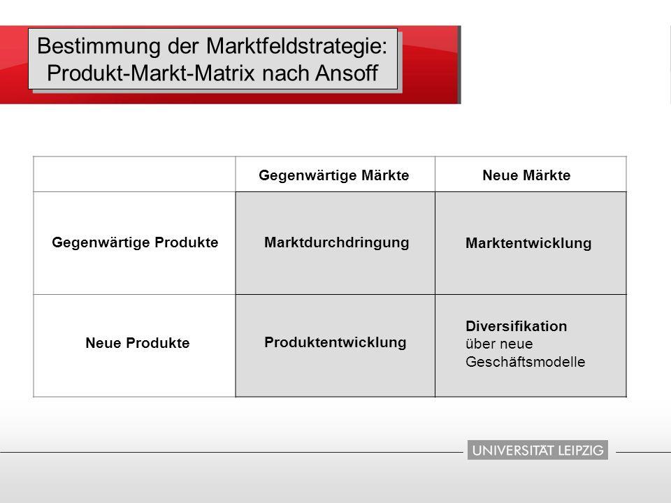 Bestimmung der Marktfeldstrategie: Produkt-Markt-Matrix nach Ansoff