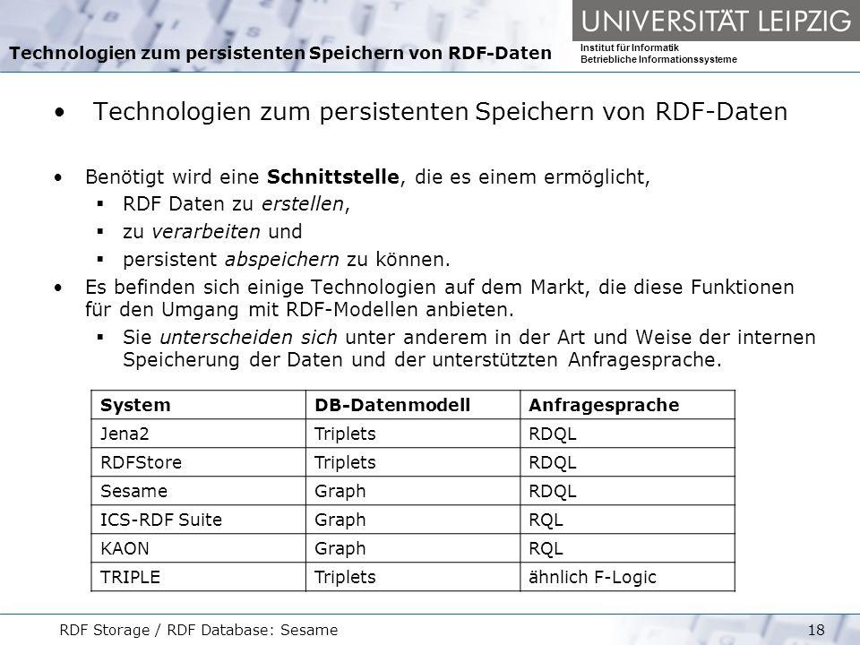 Technologien zum persistenten Speichern von RDF-Daten