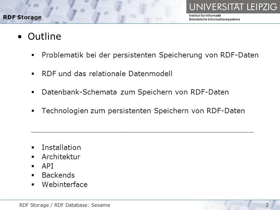 Outline Problematik bei der persistenten Speicherung von RDF-Daten