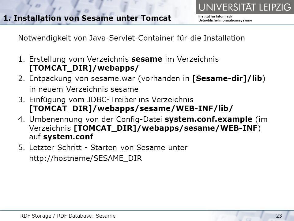 1. Installation von Sesame unter Tomcat