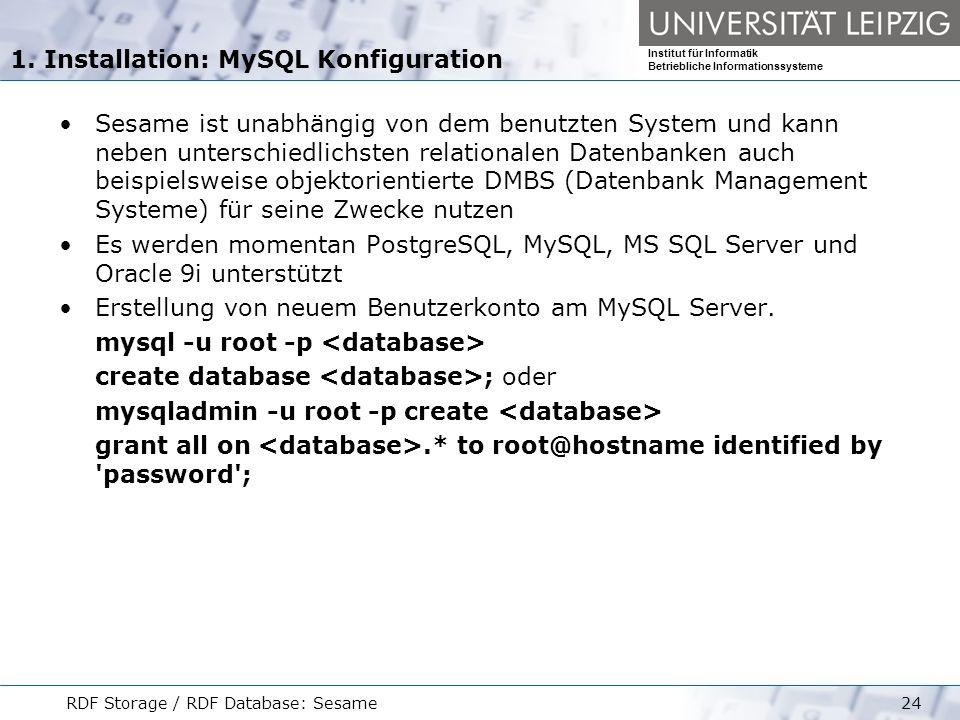 1. Installation: MySQL Konfiguration