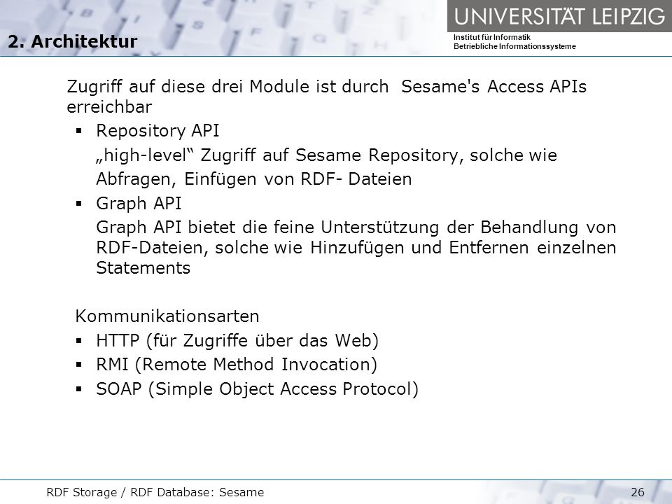 """high-level Zugriff auf Sesame Repository, solche wie"