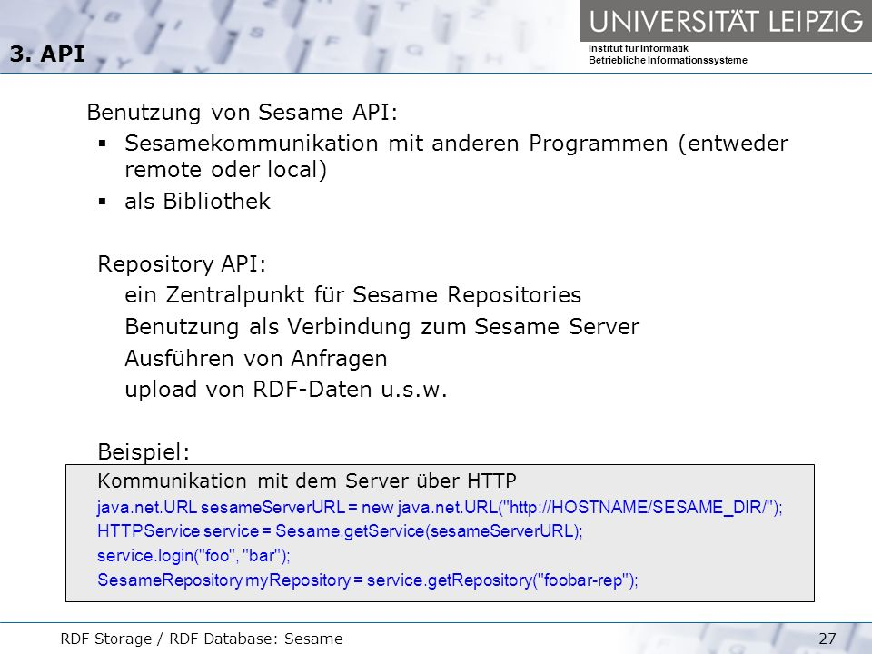 Benutzung von Sesame API: