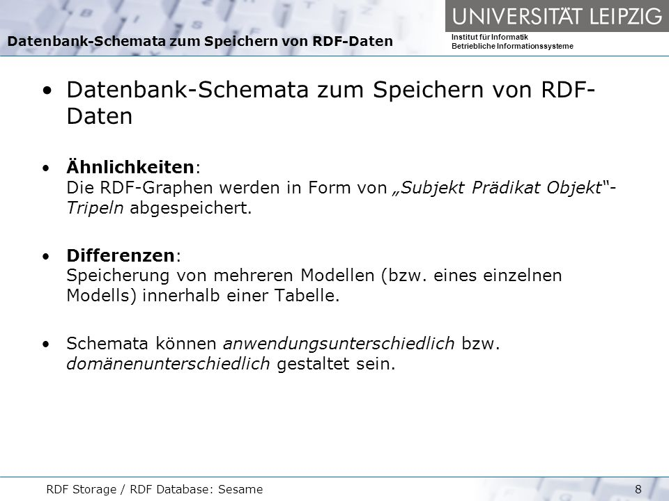 Datenbank-Schemata zum Speichern von RDF-Daten