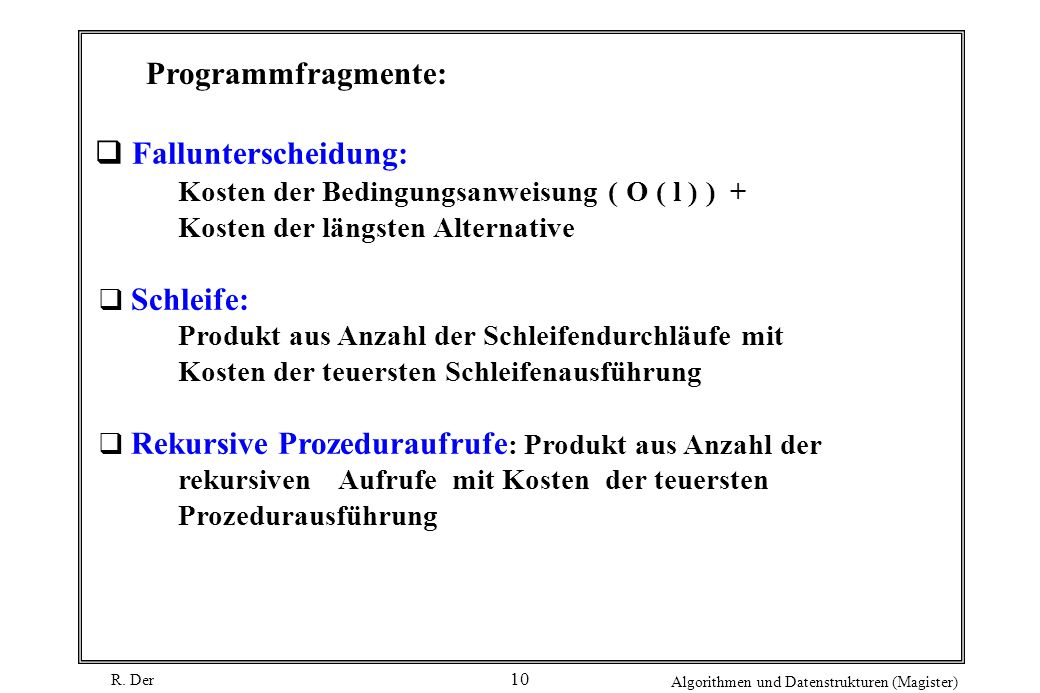 Programmfragmente: Fallunterscheidung: