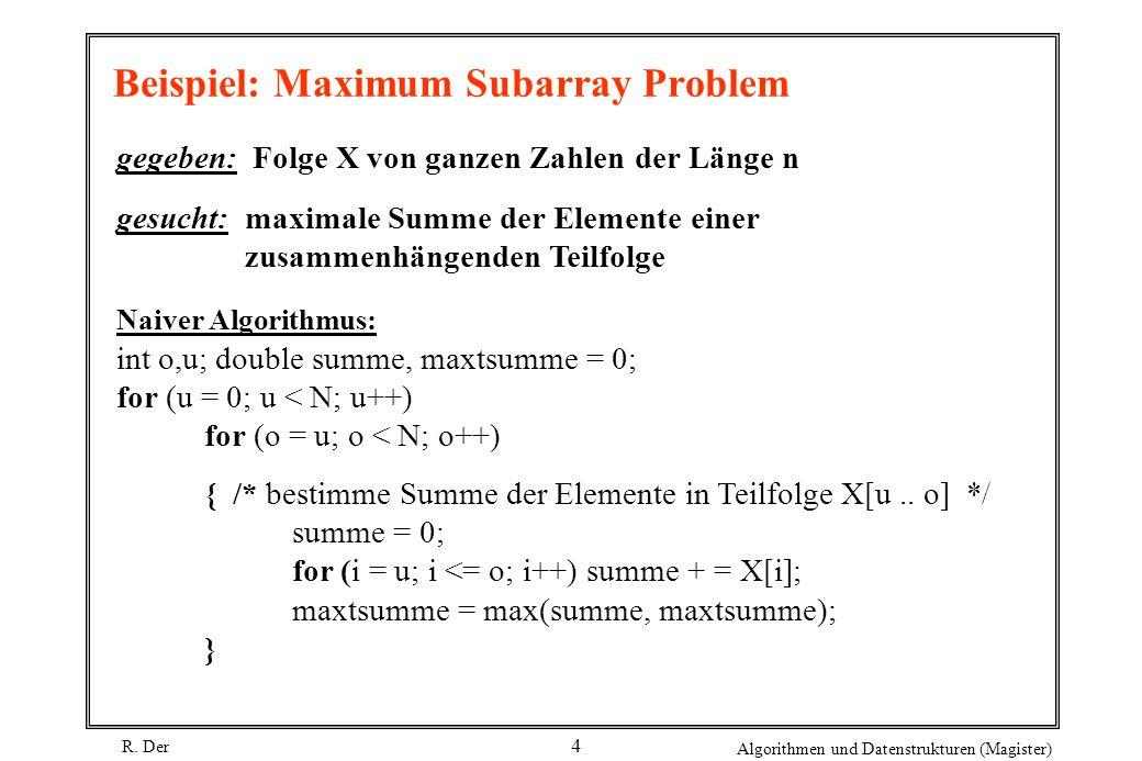 Beispiel: Maximum Subarray Problem