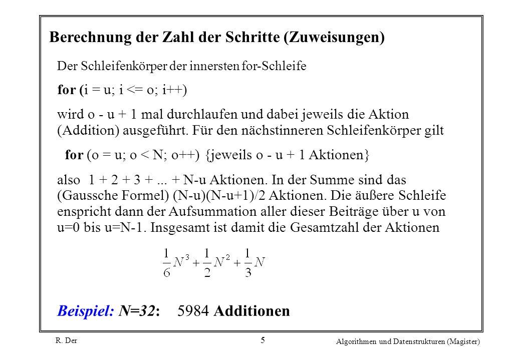 Berechnung der Zahl der Schritte (Zuweisungen)
