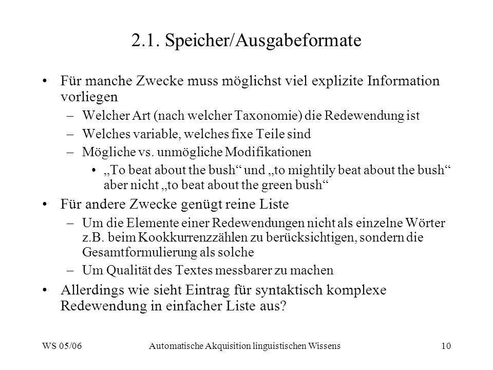 2.1. Speicher/Ausgabeformate