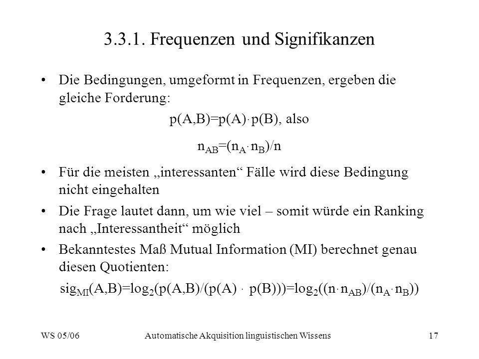 3.3.1. Frequenzen und Signifikanzen
