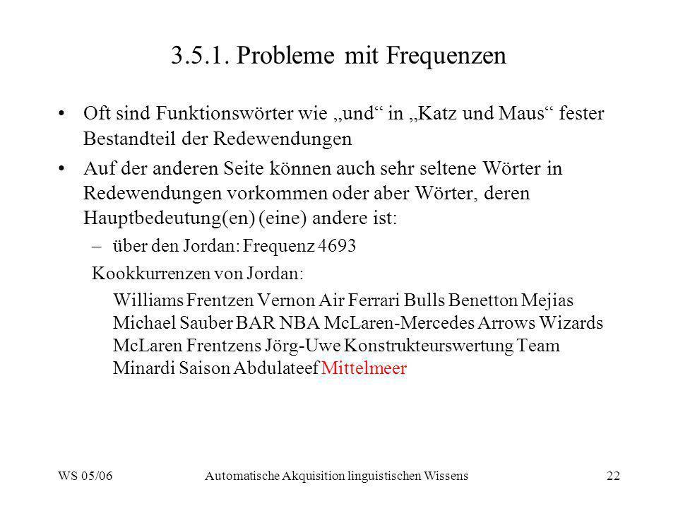 3.5.1. Probleme mit Frequenzen