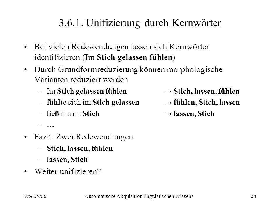 3.6.1. Unifizierung durch Kernwörter