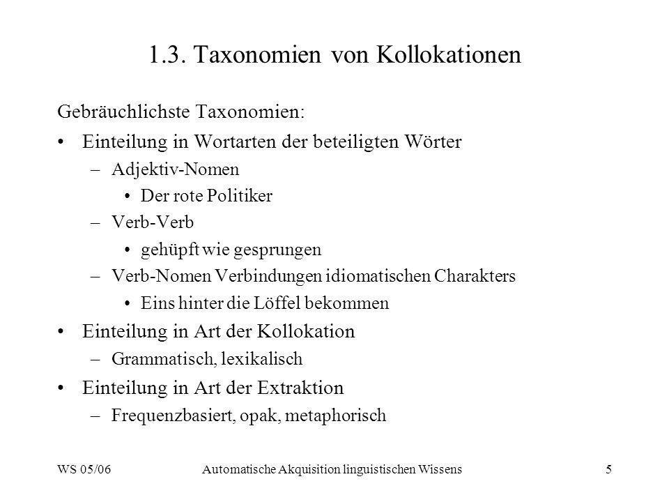 1.3. Taxonomien von Kollokationen