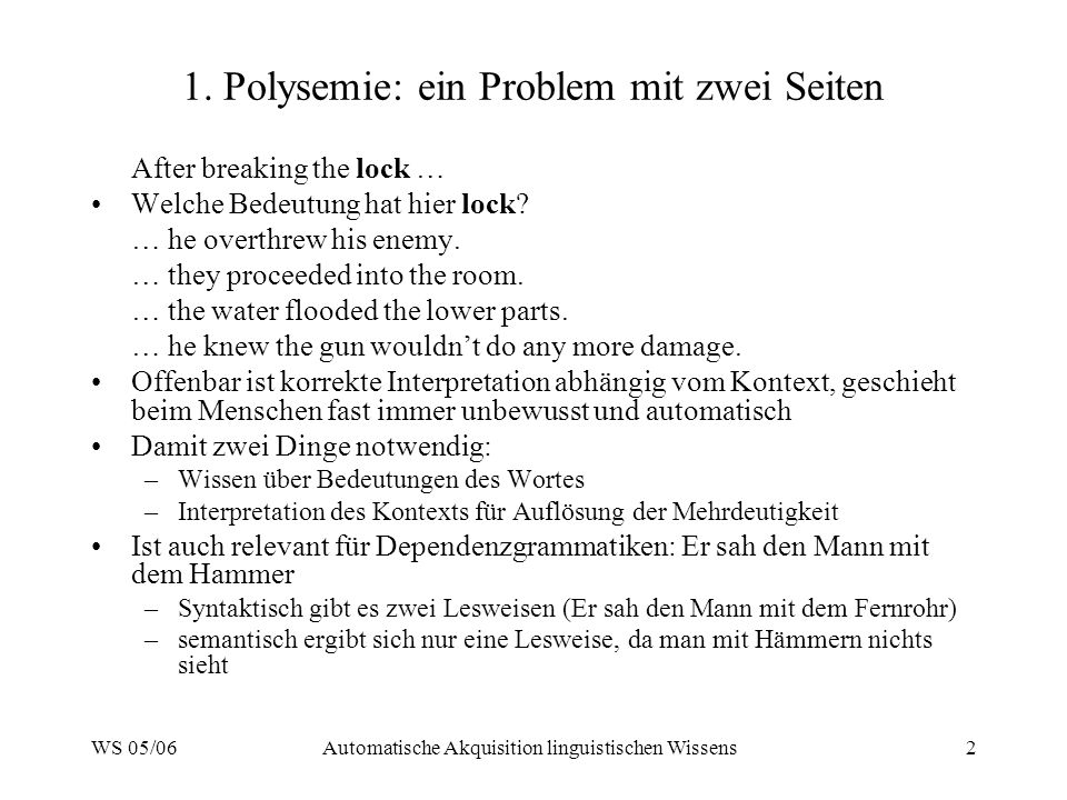 1. Polysemie: ein Problem mit zwei Seiten
