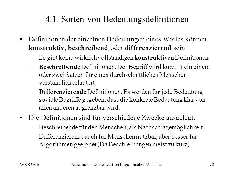 4.1. Sorten von Bedeutungsdefinitionen