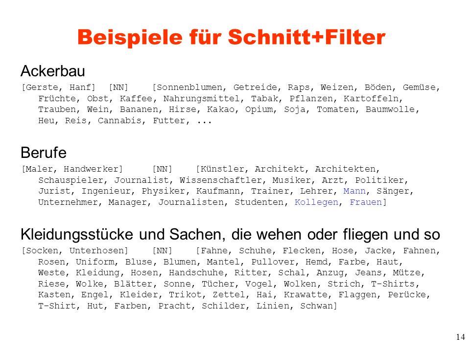 Beispiele für Schnitt+Filter