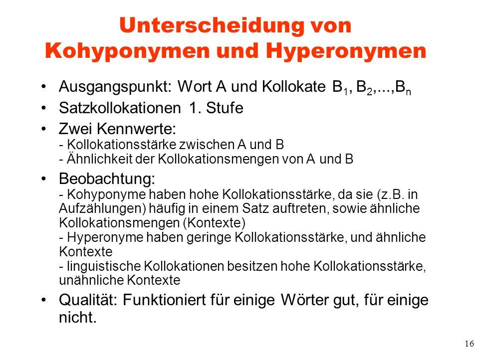 Unterscheidung von Kohyponymen und Hyperonymen