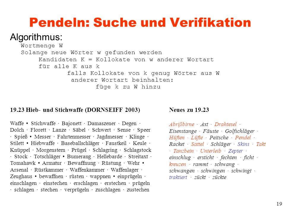 Pendeln: Suche und Verifikation