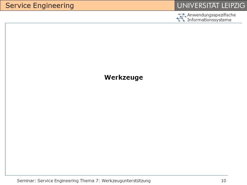 Werkzeuge Seminar: Service Engineering Thema 7: Werkzeugunterstützung