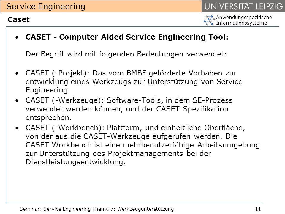 Caset CASET - Computer Aided Service Engineering Tool: Der Begriff wird mit folgenden Bedeutungen verwendet: