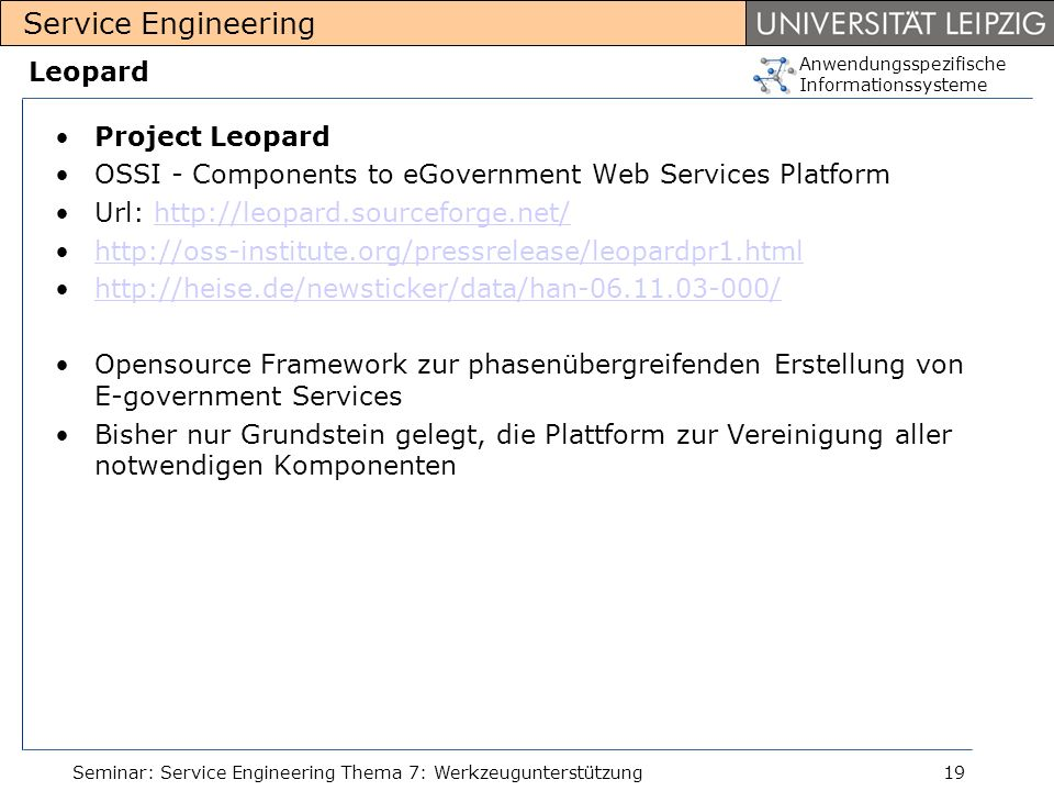 OSSI - Components to eGovernment Web Services Platform