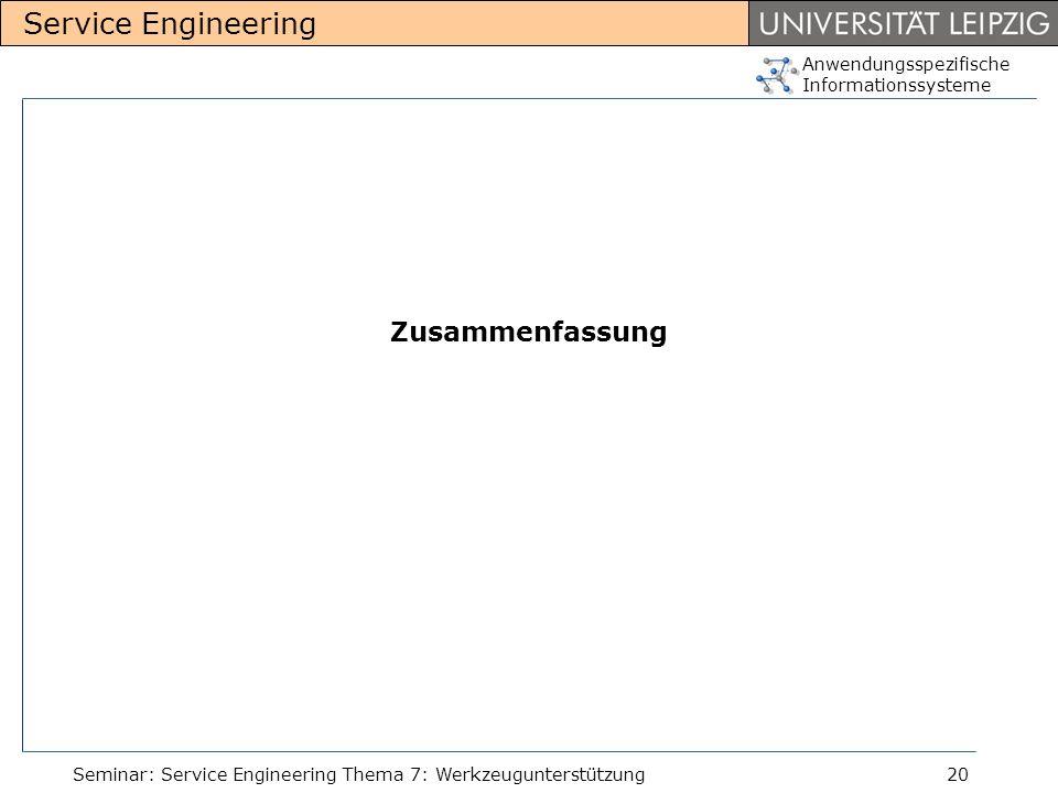 Zusammenfassung Seminar: Service Engineering Thema 7: Werkzeugunterstützung