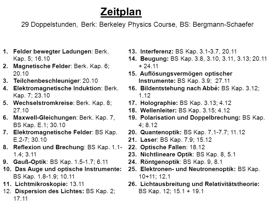 Zeitplan 29 Doppelstunden, Berk: Berkeley Physics Course, BS: Bergmann-Schaefer. Felder bewegter Ladungen: Berk. Kap. 5; 16.10.