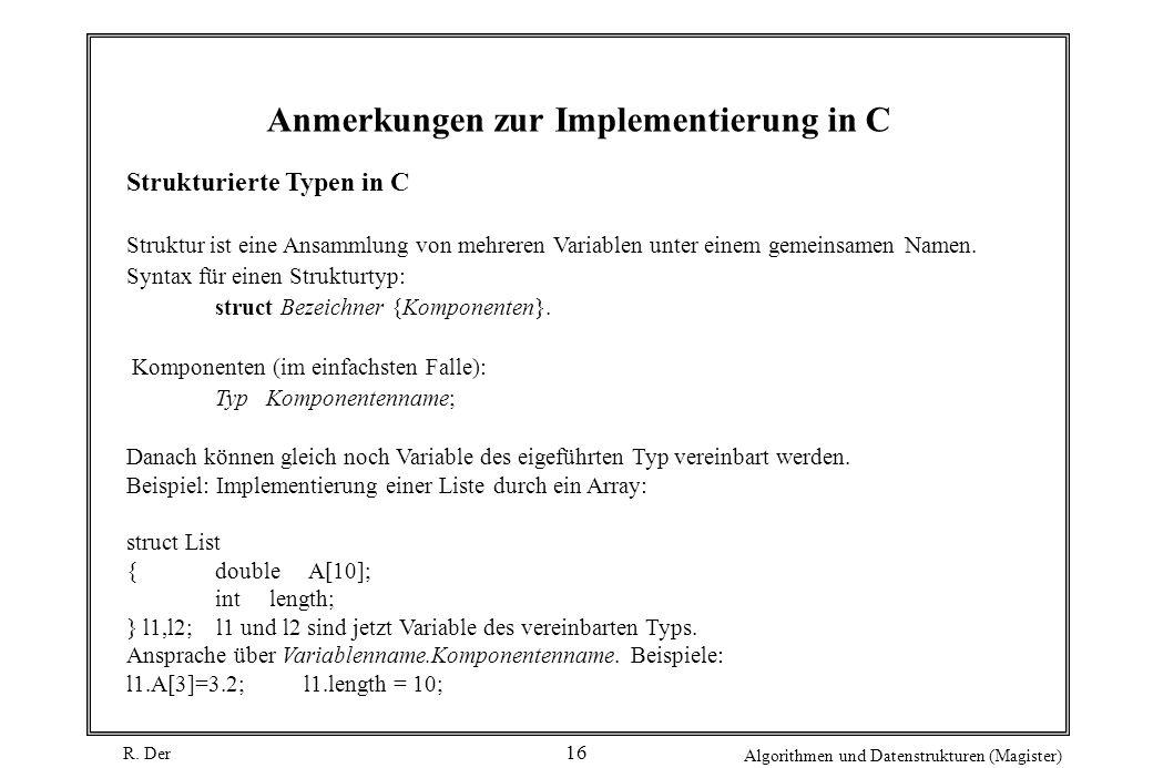 Anmerkungen zur Implementierung in C