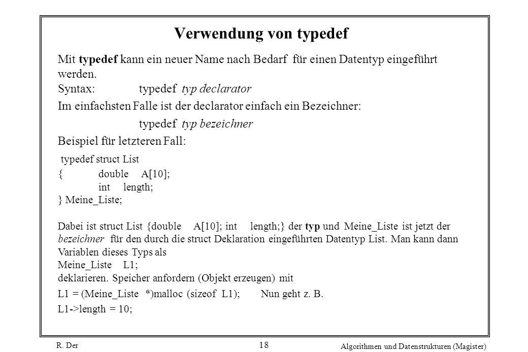 Verwendung von typedef